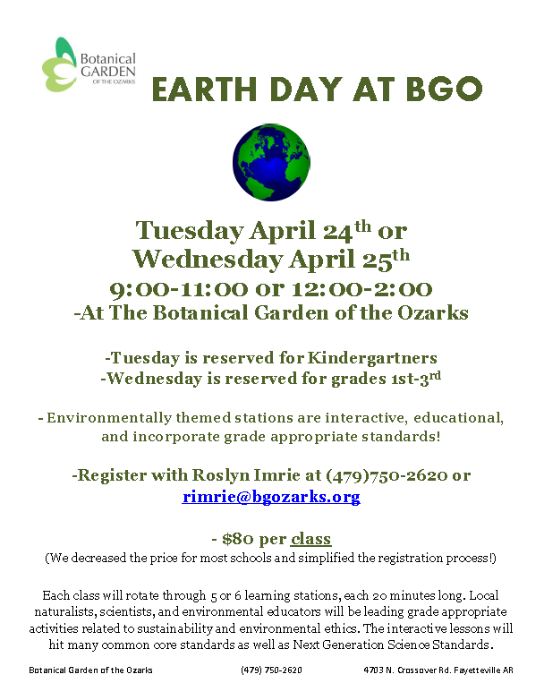 Grades 1st-3rd Earth Day at Botanical Gardens – Arkansas STEM Coalition